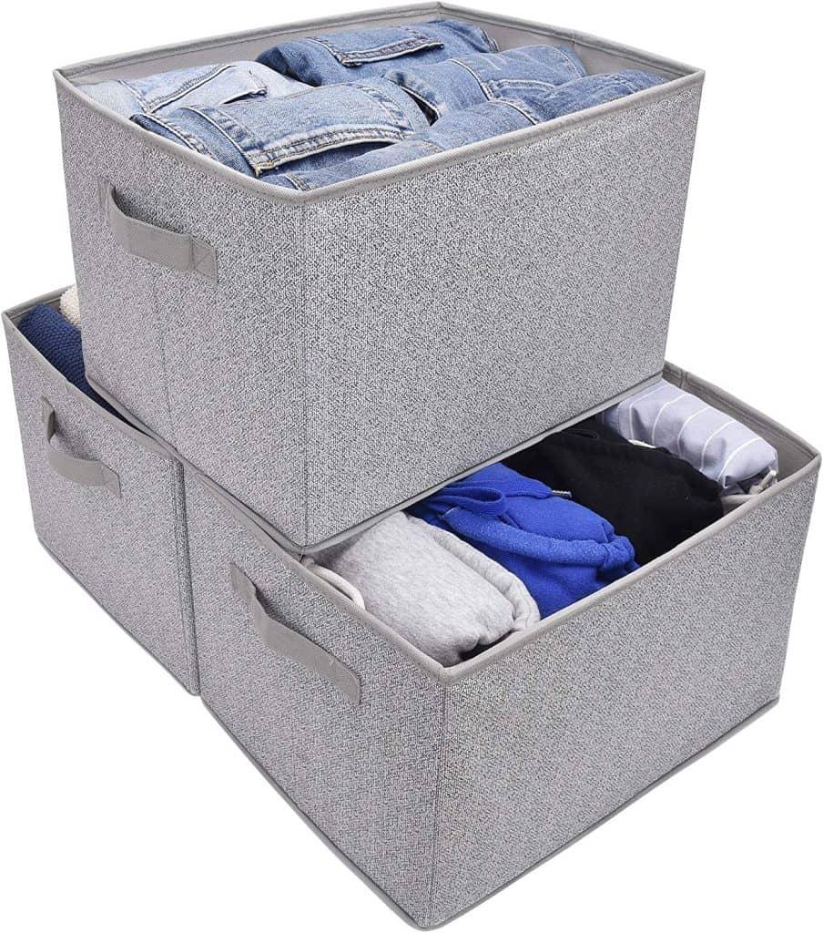 Granny Says fabric storage bins make a great closet organization idea