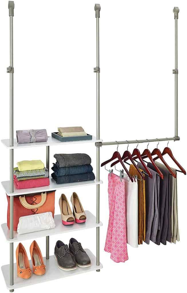 Closet organization ideas - hanging shelves and rod by ClosetMaid