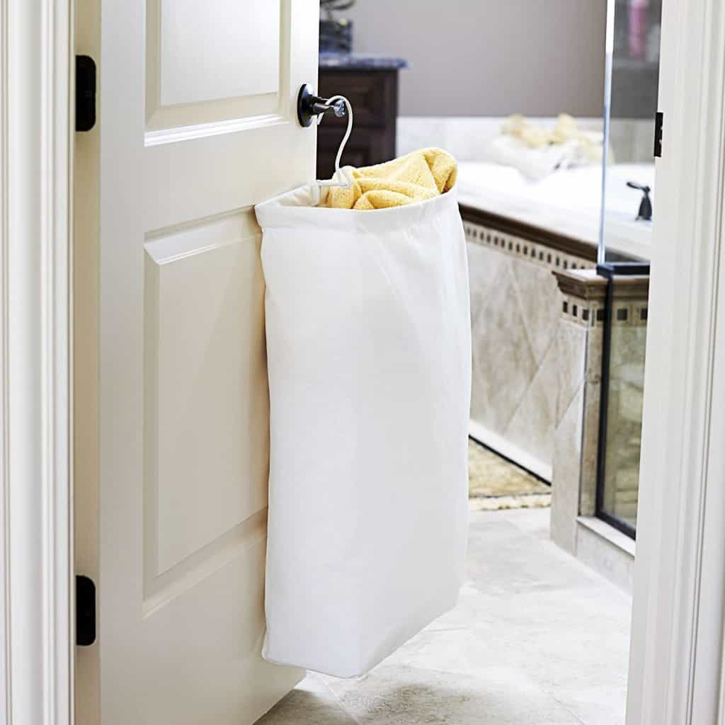 Closet organization - a hanging laundry hamper is a good way to help free up floor space in your closet