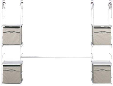 CLoset organization = hanging cubby organizer. These hanging closet cubby organizers by rubbermaid will allow to you fold sweaters and store items like socks and underwear in the cubby organizer.