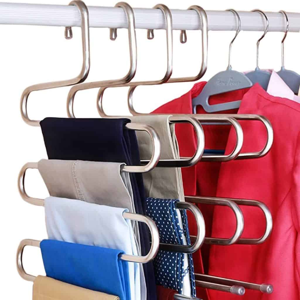 Closet organization ideas and closet storage ideas for pants - these s type hangers allow you to hang 5 pairs of pants per hanger. They are great pant storage hangers