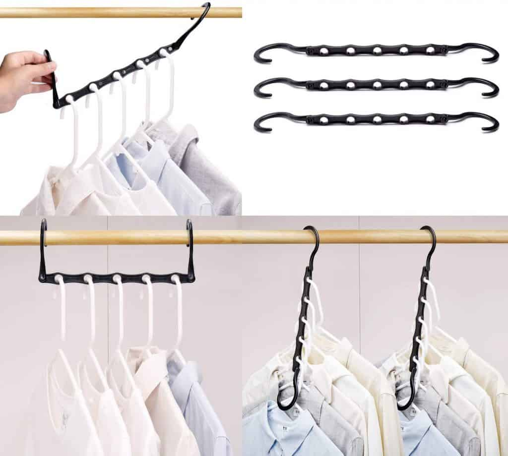 Space saving clothes hanger allows you to hang multiple clothes hangers from this one device