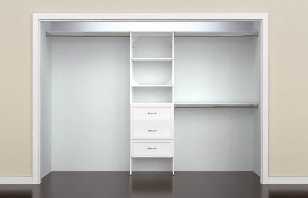 Closet Organization system made by ClosetMaid.