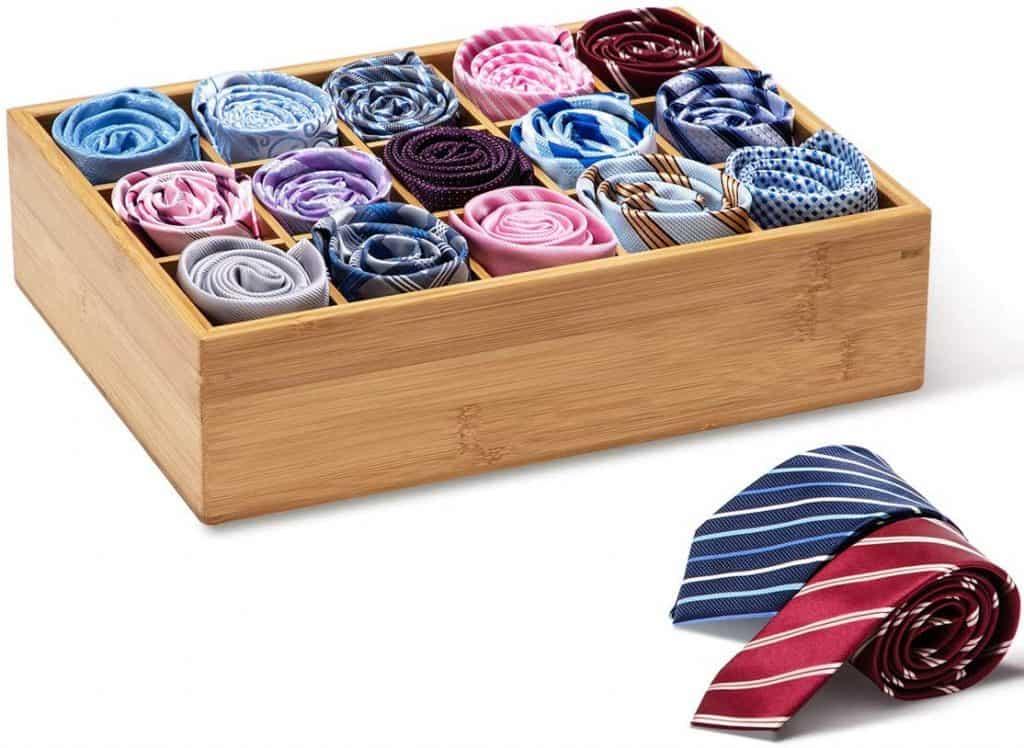 Closet organization idea - bamboo tie organizer