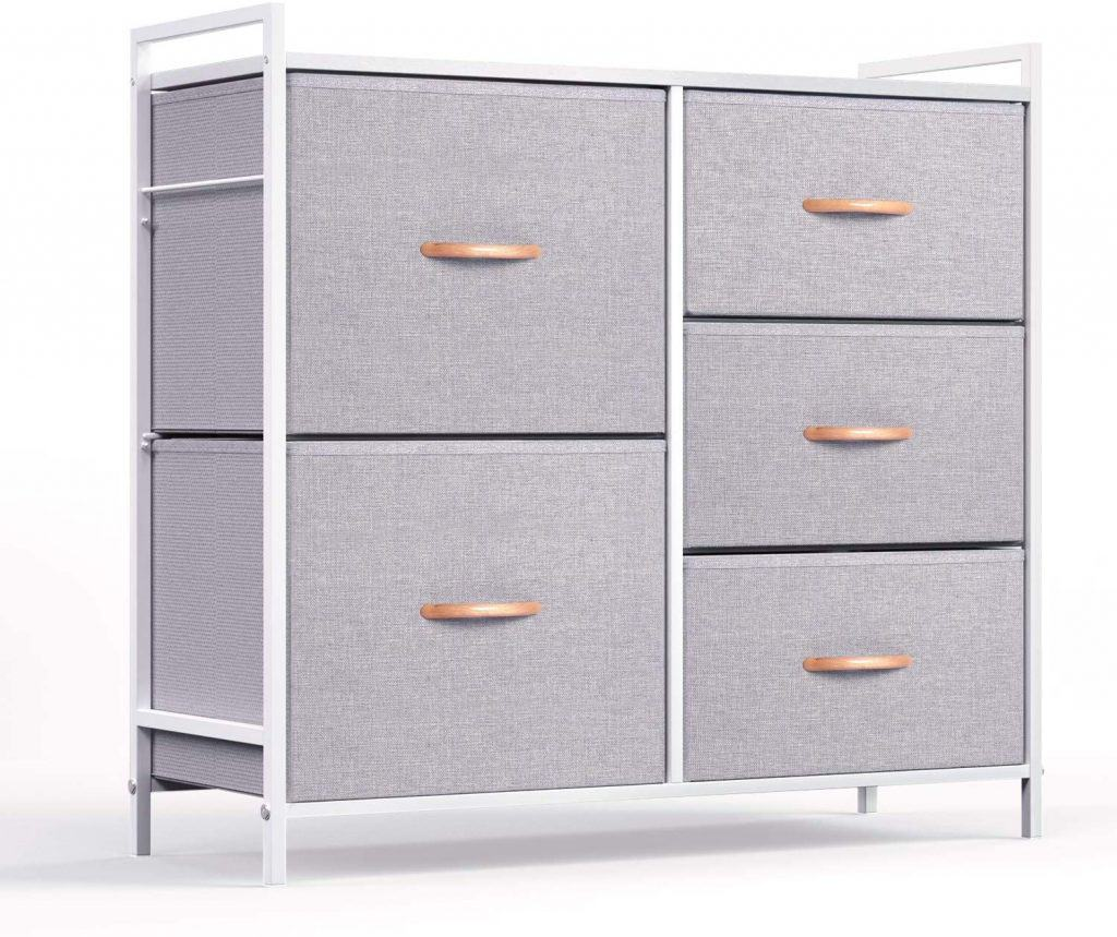 Closet organization idea - a 5 drawer fabric dresser placed at teh bottom of your closet could help you store sweaters, blankets, underwear and more.