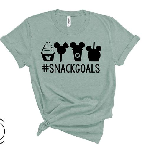 DIsney shirts for women - #snackgoals    A cute disney tshirt celebrating the tasty snacks at Disney resorts. If you like funny disney shirts you should check this one out.,