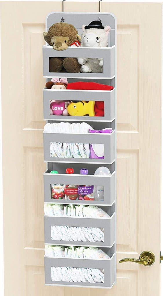 RV bathroom storage - hanging pocket organizer for behind the bathroom door can help reduce clutter from your RV bathroom cabinets and countertop.