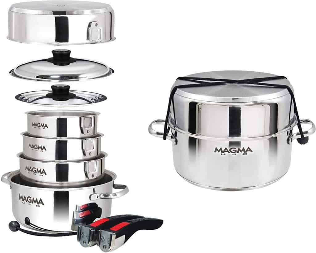 RV kitchen storage ideas - nesting cookware set made by Magma. It is a 10-piece cookware set made of stainless steel.