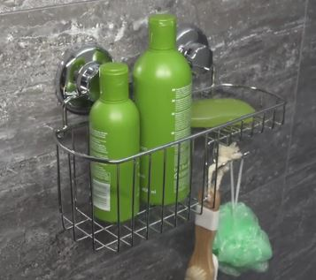 Shower basket with suction cups