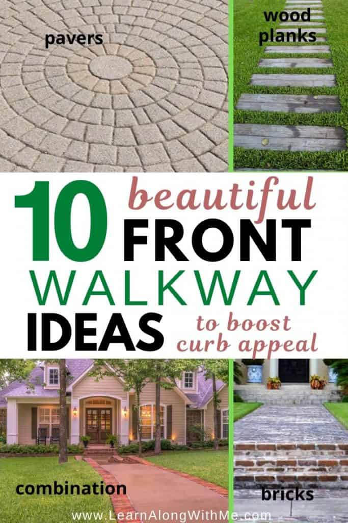 10 Front Walkway Ideas to boost curb appeal. Includes some front walkway ideas budget oriented...such as the wood planks