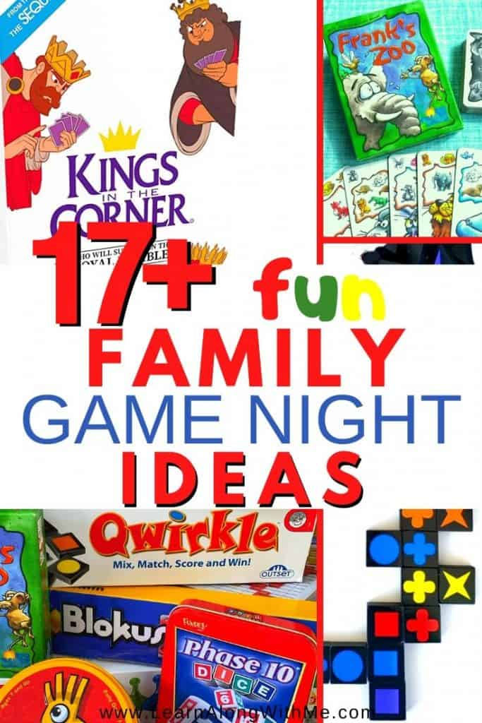 Family Game Night Ideas - over 17 family game night ideas including board games, family dice games, family card games and more