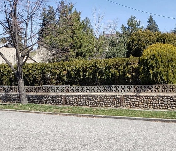 Privacy Fence Ideas - combining hedges with a rock wall