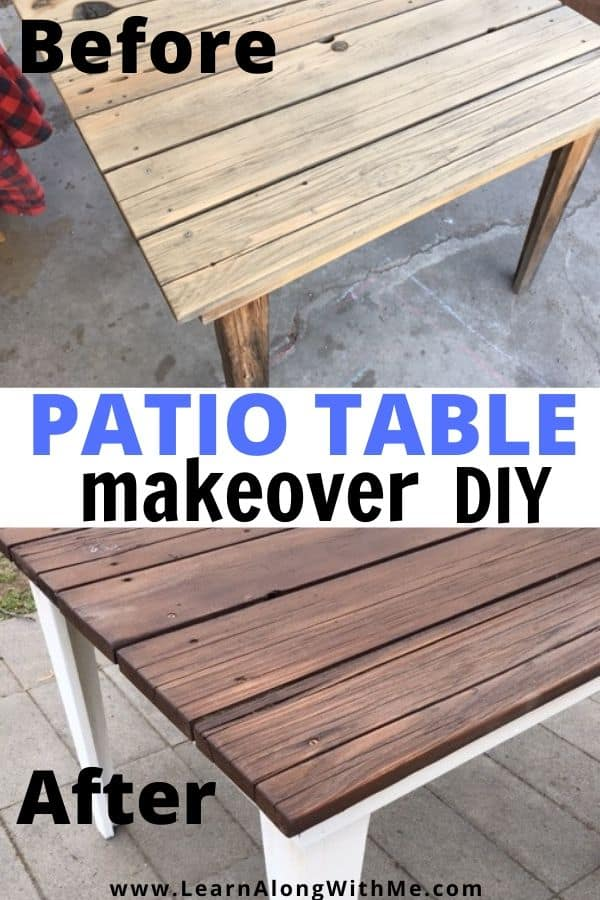 My DIY patio table Makeover before and after picture