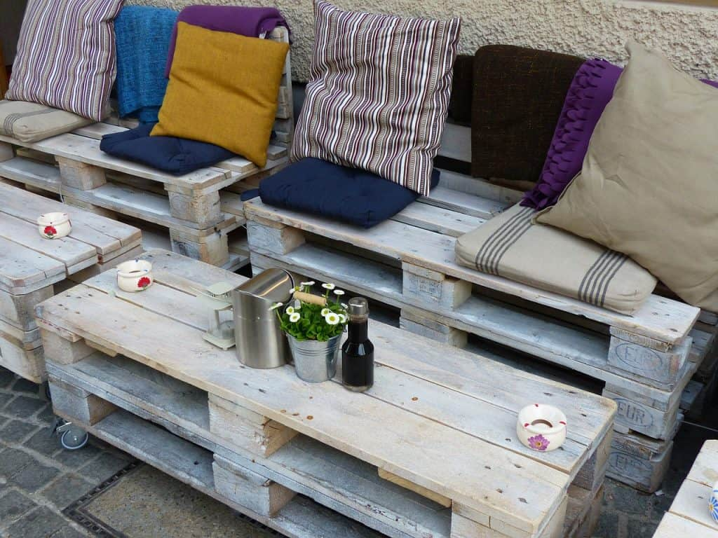 Pallet furniture is an attractive patio furniture idea