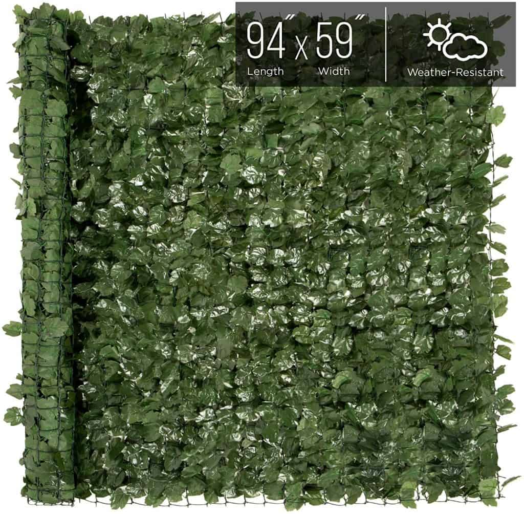 Artificial hedge to use as  a privacy screen on a chain link fence.