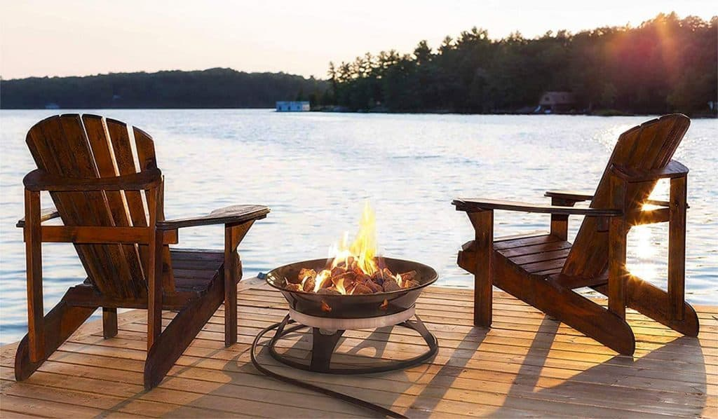 Patio furniture with a portable fire bowl made by Outland