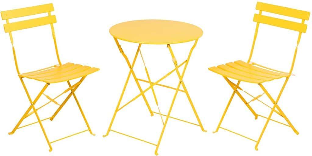 Patio ideas - yellow patio bistro table set