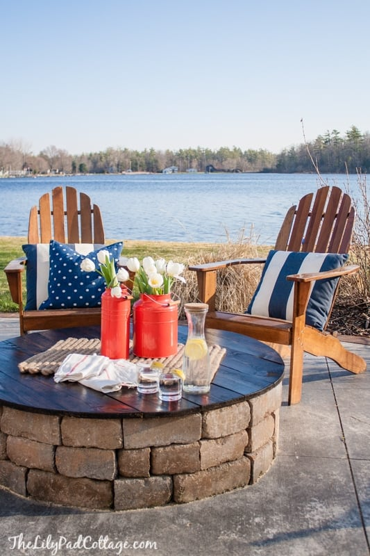 DIY patio table ideas -- firepit table top
