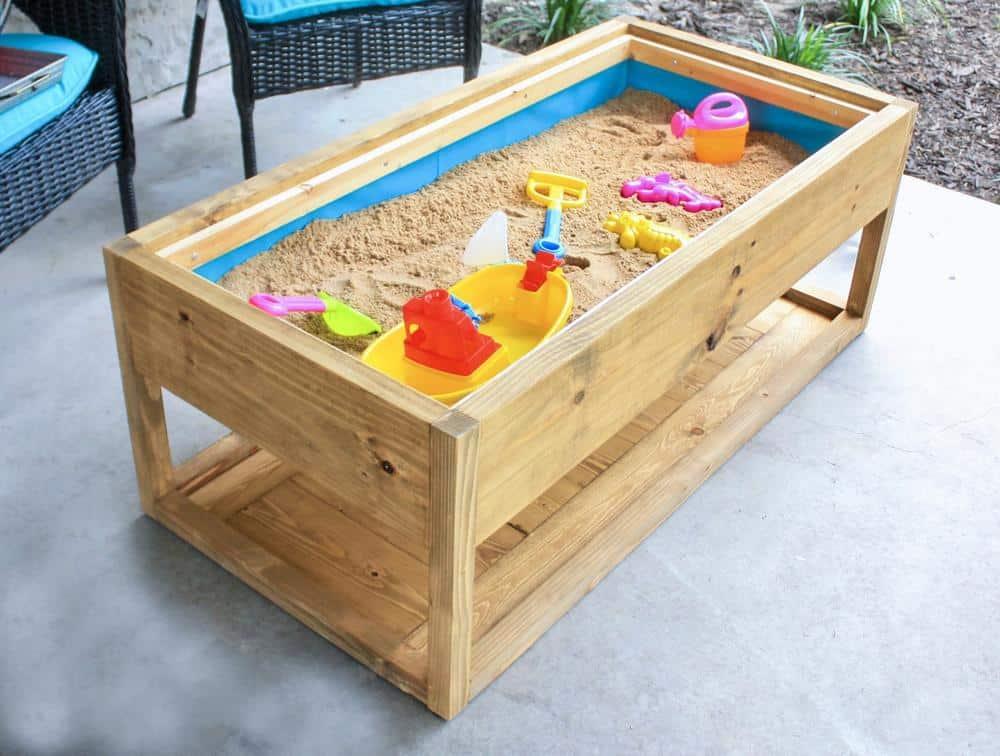 DIY patio table ideas - this patio table doubles as a sandbox