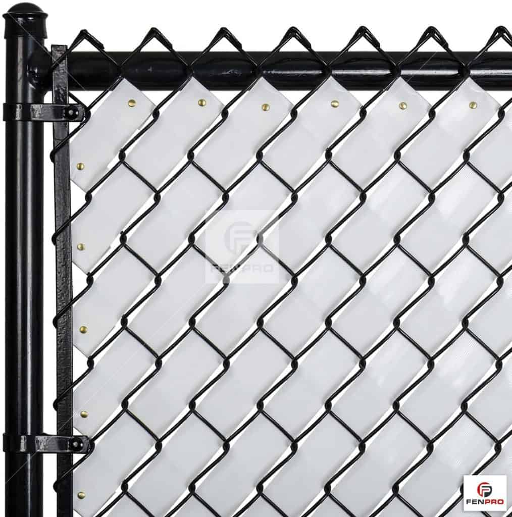 Privacy fence tape made by FenPro. It is another chain link fence privacy option that you could do yourself.