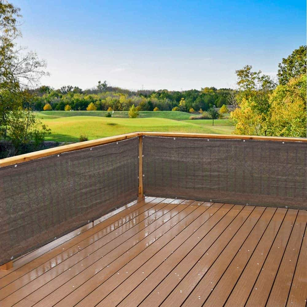 How do I add privacy to a raised deck? you can use fabric privacy screens like this one which zip tie to your existing railing