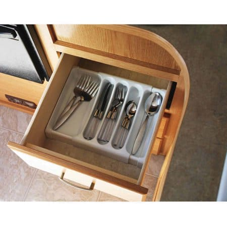Small Kitchen Organization - adjustable cutlery tray liner