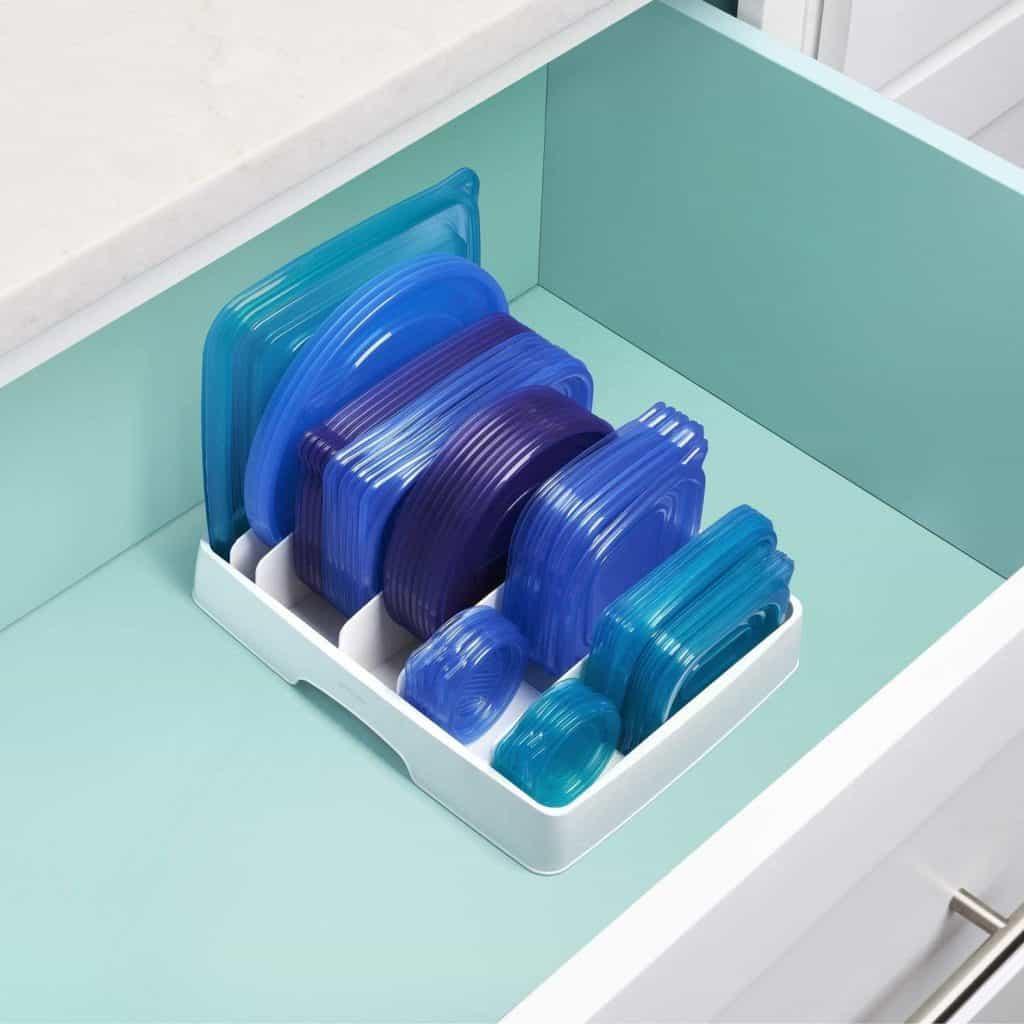 Small kitchen organization ideas - food storage container lid organizer