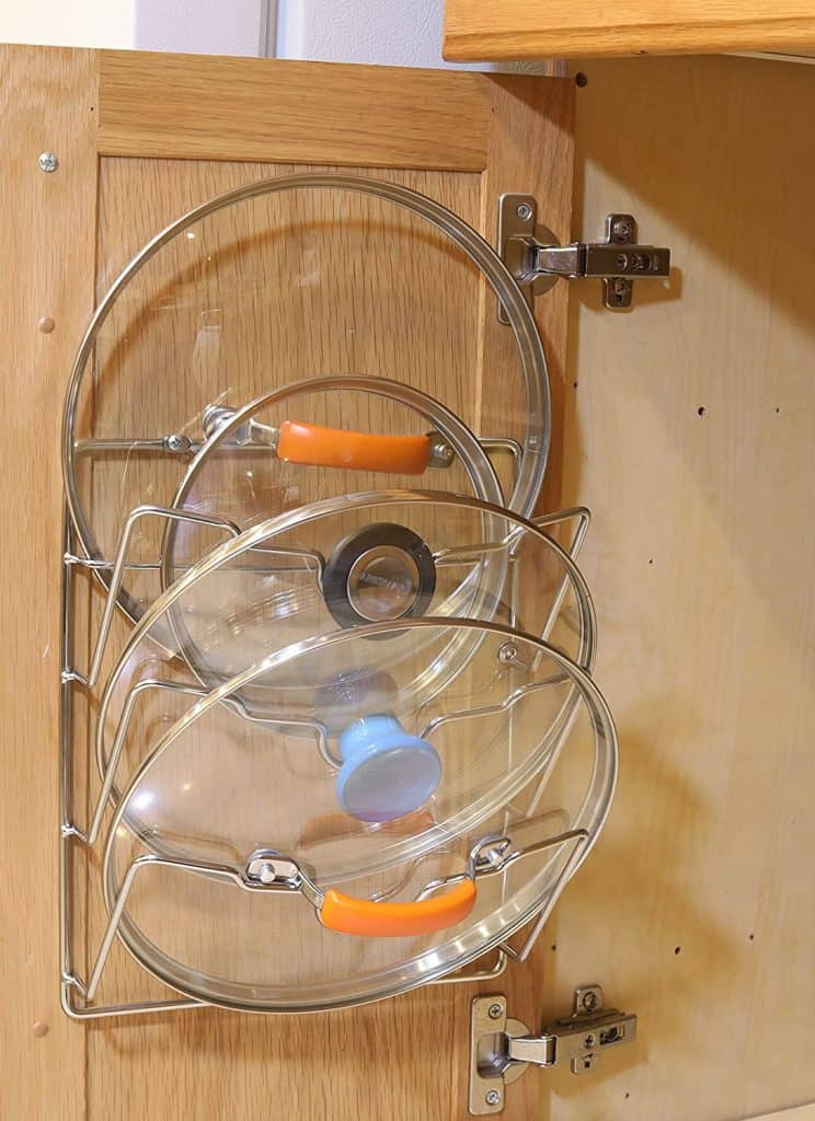 Small Kitchen Organization - lid rack for pot lids