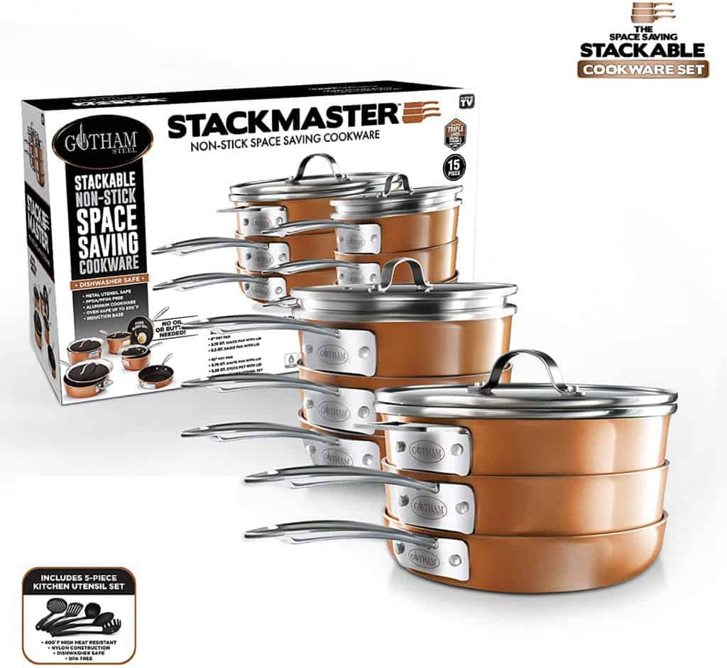 Stackable non-stick nesting cookware set takes up less room inside a kitchen cabinet.
