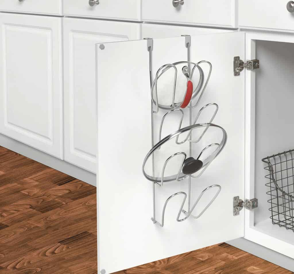 Small kitchen organization idea - use an over the cabinet lid rack to store pot lids