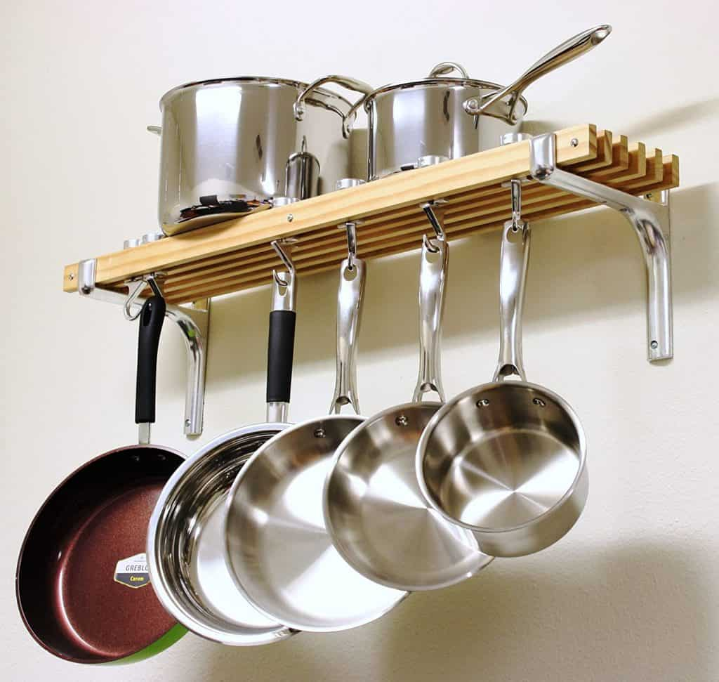 Small Kitchen Organization Ideas - wall mounted pots and pans rack