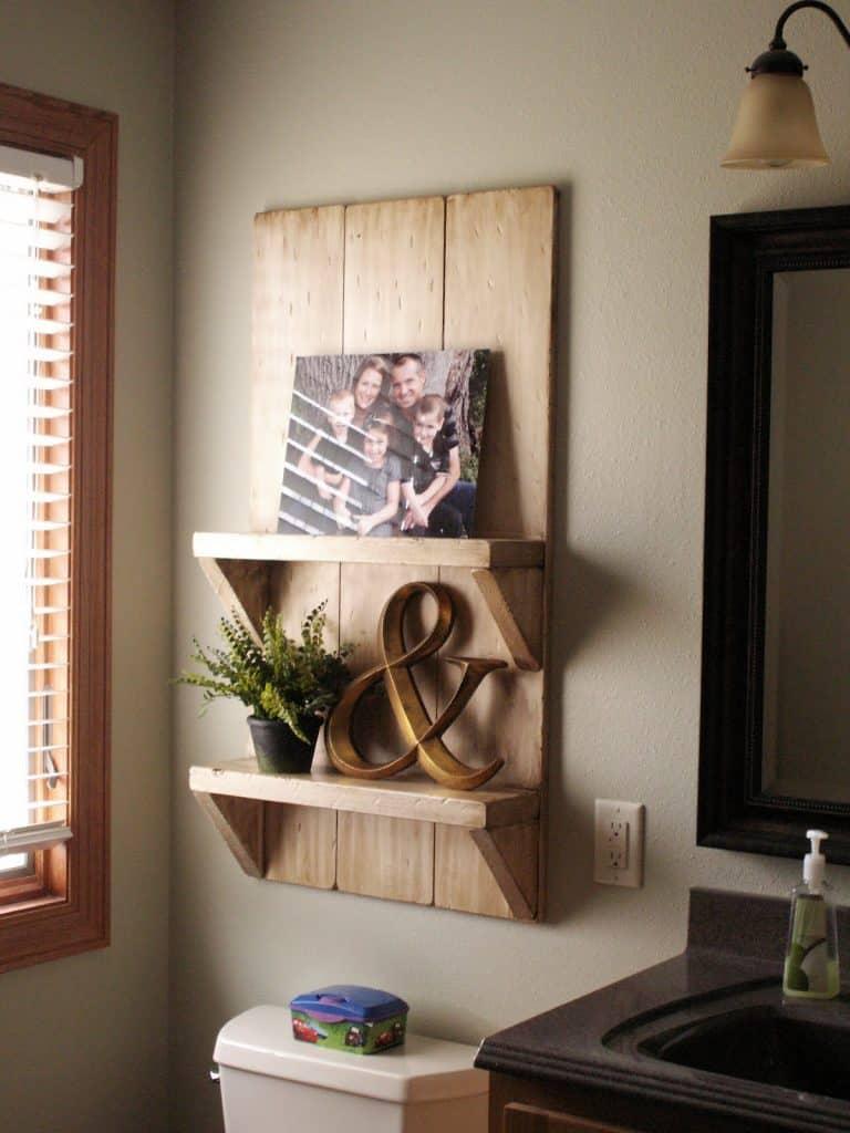 DIY bathroom shelves over toilet ideas - these are  lovely wooden shelves over the toilet