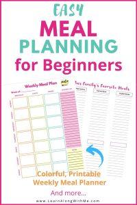Weekly Meal Plan template printable