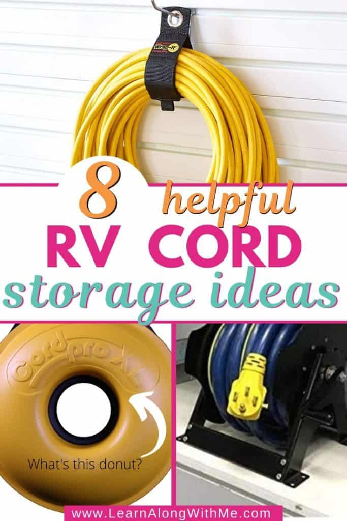 8 Helpful RV Cord Storage Ideas to prevent  a tangled mess. Contains lots of good extension cord organizers and storage ideas.