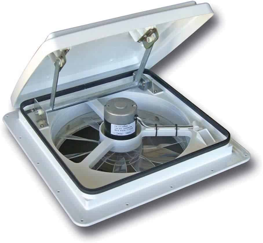 RV roof fan to help draw out the heat from your RV. MaxxAir makes the Maxxfan Plus