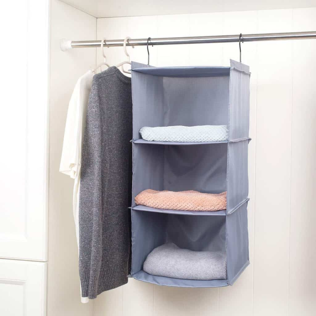 How to store clothes in your RV - a hanging shelf in your RV closet