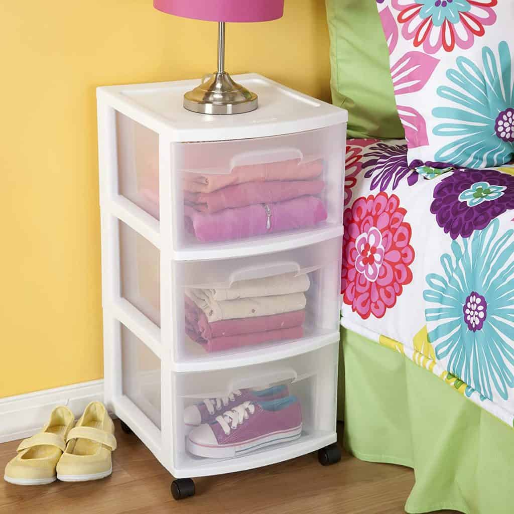 How to store clothes in an RV - 3 shelf plastic organizer