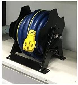 RV power cord reel with manual crank makes a convenient extension cord organizer