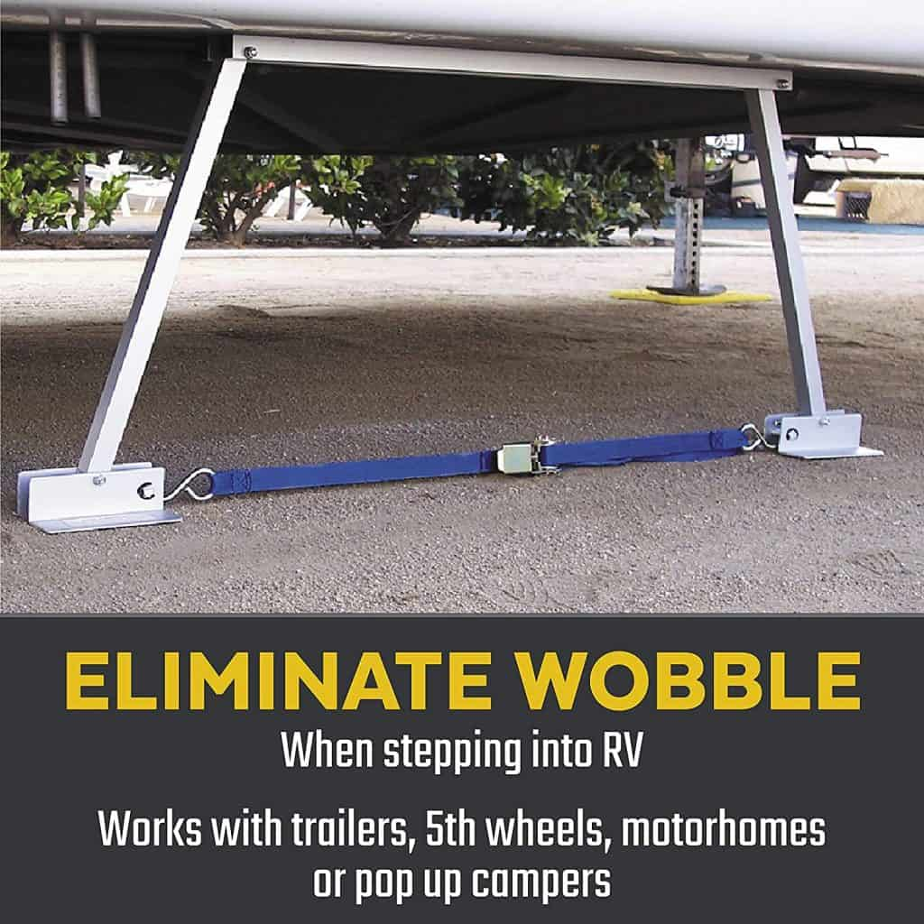 How do I stop my rv from rocking? An rv stabilizer like this from Valterra will help. It can help stabilize a travel trailer, motorhome or 5th wheel trailer.