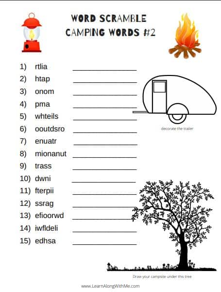 Word Scrambles for kids - camping words. Free printable PDF word scrambles for kids