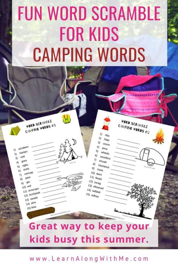 Camping Words – Fun Word Scramble for Kids [free printable]