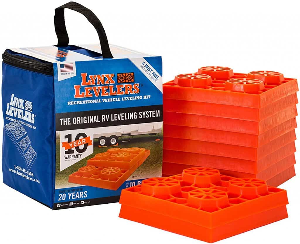 Use leveling blocks like these Lynx Levelers to level your RV before you try and stabilize it