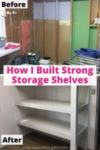 How to build strong DIY wooden shelves for a storage room or laundry room