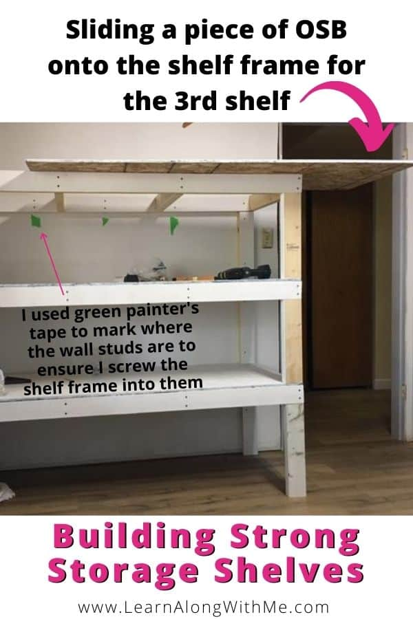 How to build storage shelves - I assembled the shelves one at a time starting at the bottom and building up