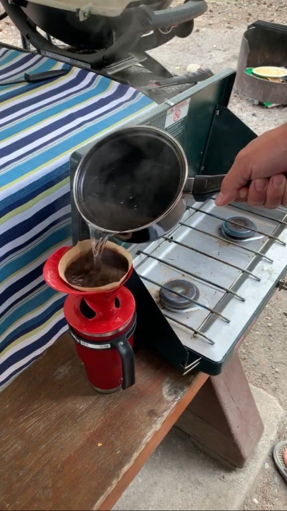 Campfire coffee - melitta pour over coffee cone. You can boil water over the campfire and then pour the hot water into the coffee cone