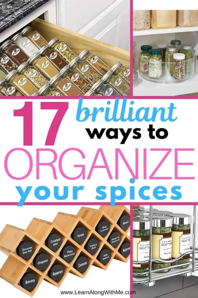 How to Organize Spices - 17 brilliant spice rack ideas and spice storage ideas. These kitchen spice storage ideas are sure to help you get your kitchen organized.
