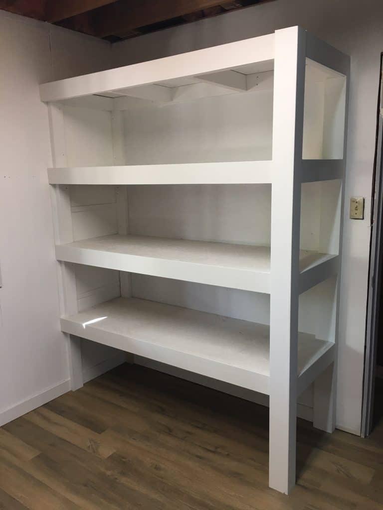 Garage Storage Ideas - a well-built, strong wooden storage shelf