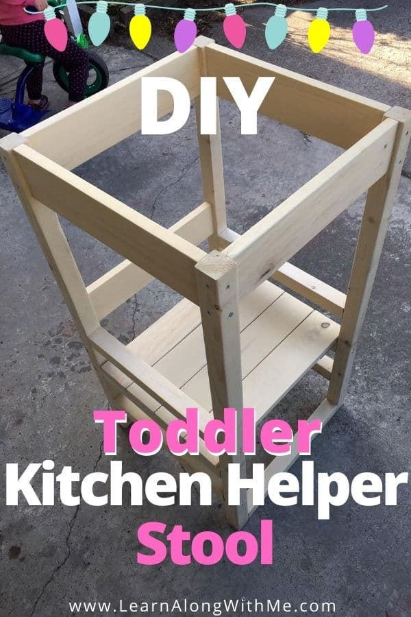How to build a toddler kitchen helper stool.  DIY Toddler Helper Stool - some people call it a Toddler Helper tower