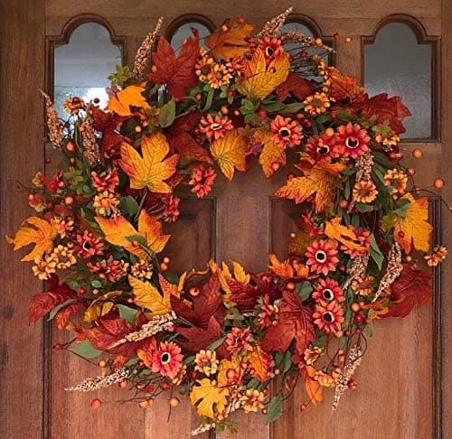 Fall porch decor ideas - a nice red and orange door wreath