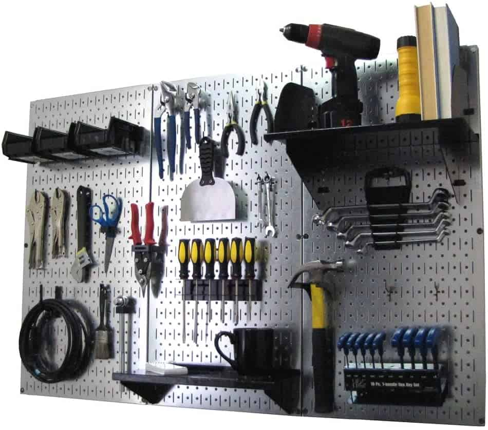 A metal pegboard like this system from Wall Control is a great garage storage idea